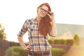 Beautiful woman in glasses — Stock Photo