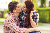 Kissing lovely couple — Stock Photo