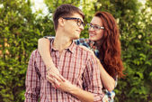 Lovely couple in glasses — Stock Photo