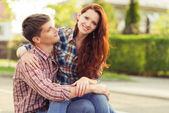 Young couple outdoor portrait — Stock Photo