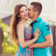 Foto Stock: Happy couple together in street