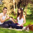 Stock Photo: Happy couple at picnic and drinking wine