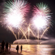 Fireworks beach of Forte dei Marmi Italy - Stock Photo