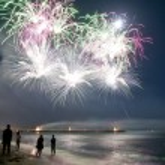 Постер, плакат: Fireworks beach of Forte dei Marmi Italy