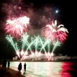 Fireworks beach of Forte dei Marmi Italy — Stock Photo