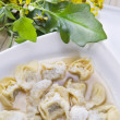 Cappelletti in broth, typical Italian pasta — Stock Photo #16221973