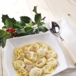 Cappelletti in broth, typical Italian pasta - Stok fotoğraf