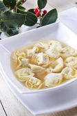 Cappelletti in broth, typical Italian pasta — Stock Photo