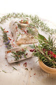 Mediterranean diet, bacon with herbs. — Stock Photo