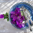 First Course With Bougainvillea — Stock Photo