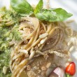 Wholemeal Spaghetti With Basil Pesto And Pine Nuts — Stock Photo #33145021