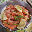 Presentation Of Raw Shrimp — Stock Photo