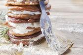 カッテージ チーズと栗の粉パンケーキ — ストック写真