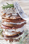 Chestnut flour pancakes with cottage cheese — Stock Photo