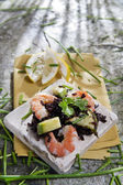 Black rice with shrimp and zucchini — Stok fotoğraf