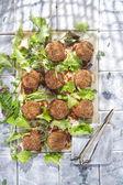 Meatballs with salad — Stock Photo