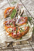 Pizza with onion  — Stock Photo
