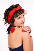 Young beautiful stylish retro brunette woman — Foto de Stock