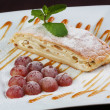 Stock Photo: Grapes strudel with mint and caramel