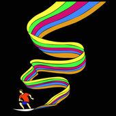 Surfer on the rainbow — Stock Vector