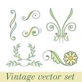 Vintage set flowers — Stock Vector