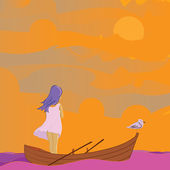 Girl and saegulls — Vector de stock