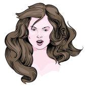 Girl with long brown hair vector eps — Stock Vector