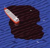 Tanker and oil spill — Stock Vector