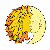 Kiss sun and moon — Stock Vector