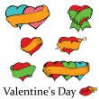 Set of loving hearts with banners — Stock Vector