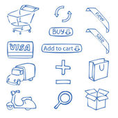 Set of hand-drawn icons for online shop — Stock Vector