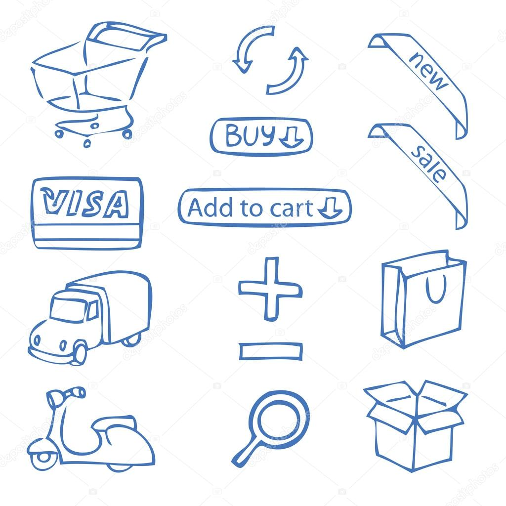 Set Of Hand Drawn Icons For Online Shop Stock Vector