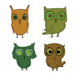 Stock Vector: Set of cartoons owls