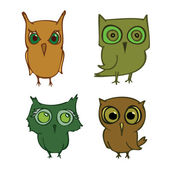 Set of cartoons owls — Stock Vector
