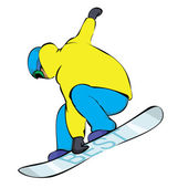 Snowboarder in yellow — Stock Vector