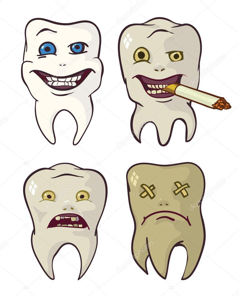 Гнилі і сильні зуби - Стоковий вектор lemyppp #20398411