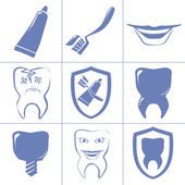 Dental icons for websait — Stock Vector