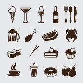 Food and drink, icons set — Stock Vector