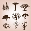 Set of different trees — Imagens vectoriais em stock