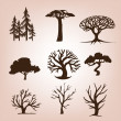 Set of different trees — Imagen vectorial