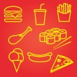 Fastfood icons set — Stockvektor