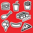 Stickers of fastfood — Vecteur
