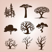 Set of different trees — Stock Vector