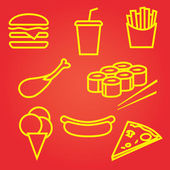 Fastfood icons set — Stock Vector