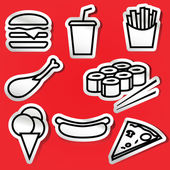 Stickers of fastfood — Stock Vector