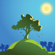 Tree on the hill — Stock Vector