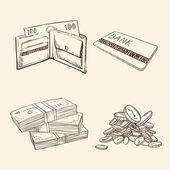 お金の記号を描画古いビンテージ — ストックベクタ