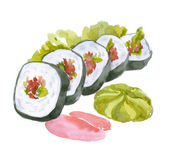 Watercolor east food, sushi — Stock Photo