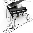 3D opened grand piano on a long flying partition — Stock Photo