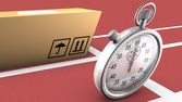 Box and stopwatch racing. This symbolizes on time delivery — Stock Photo